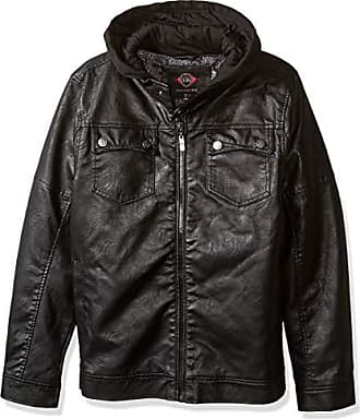 Urban Republic Mens Faux Leather Jacket, Black, L