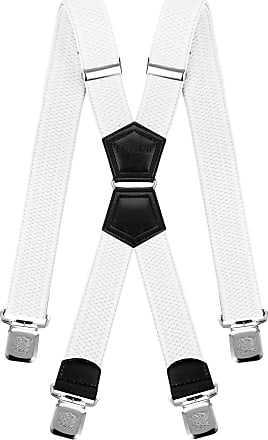 Decalen Mens Braces X Style Very Strong Clips Adjustable One Size Fits All Heavy Duty (White), One Size - Long