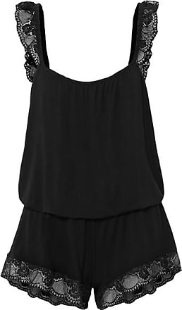 Eberjey Noor The Primped Lace-trimmed Stretch-modal Jersey Playsuit - Black