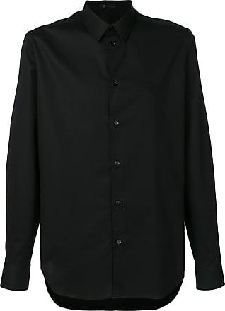 Versace Camisa com logo bordado - Preto