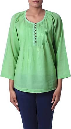 Novica Cotton voile tunic, Mandala Green