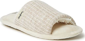 Dearfoams Womens Lane Knit Slide Slipper, Oatmeal Heather, Medium