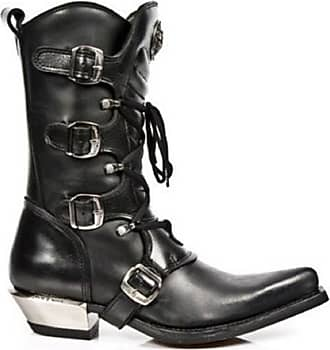 New Rock Newrock 7993-C2 Ladies Black Leather Buckle Goth Lace High Zip Boots (UK 12 / EU 46)