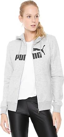 9e98e78ac4156 Puma Moletom Flanelado Aberto Puma Logo Hodded Jacket Fl Cinza