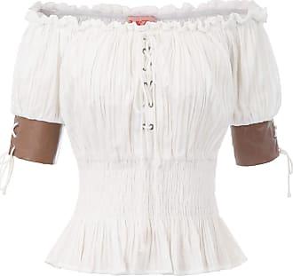 Belle Poque Ladies Gothic Victorian Halloween Festival Blouse Vintage Off Shoulder Party Tops Shirt L Ivory