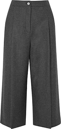 McQ by Alexander McQueen Cropped Prince Of Wales Checked Wool Wide-leg Pants - Dark gray
