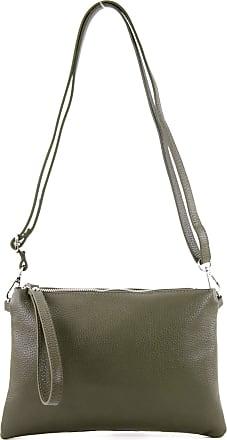 modamoda.de T186 - Italian Clutch/Shoulder Bag Leather Medium, Colour:olive green
