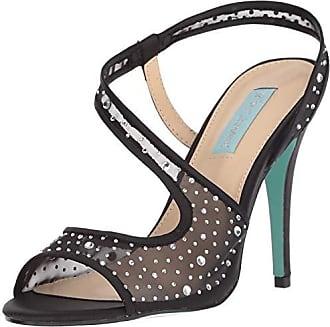 Blue by Betsey Johnson Womens SB-FEY Heeled Sandal, Black Satin, 8.5 M US