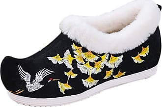 ICEGREY Womens Chinese Style Embroidered Mary Jane Shoes Fleece Loafers Black-Crane 5.5