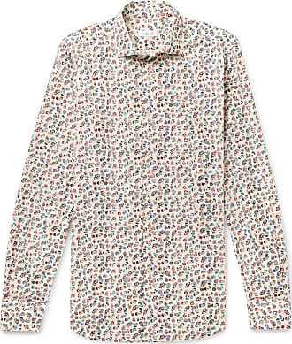 Incotex Ween Slim-fit Cutaway-collar Floral-print Cotton Shirt - Off-white