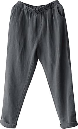 QUINTRA Plus Size Women Linen Harem Pants Baggy Loose Trousers Casual Lady (4XL, Gray)