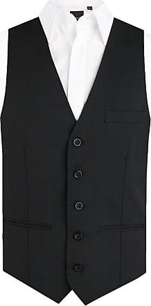 Dobell Mens Black Waistcoat Regular Fit 5 Button-5XL (62-64in)
