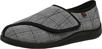 Insun Unisex Adjustable Extra Wide Diabetic Slippers for Swollen Foot Black 10.5 UK Wide Women 11 UK Wide Men