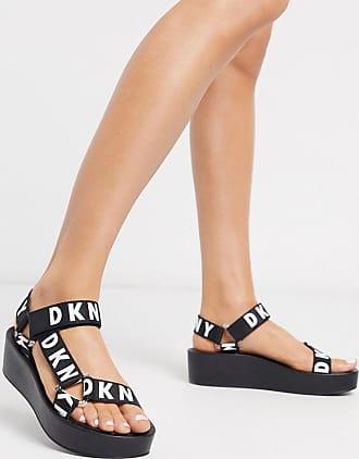 DKNY Ayli logo strap platform sandals in black