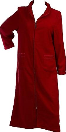 Slenderella Ladies Anti Pill Zip Up Dressing Gown Satin Trim Polar Fleece Bath Robe Red (Medium)