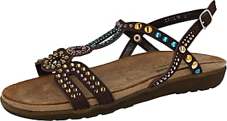 Cushion-Walk Ladies Open Toe Beaded T Bar Flat Sling Back Gladiator Sandals Size 3-8 (UK 3/EU 36, Brown)