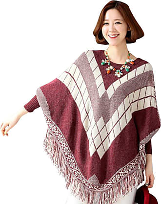 Yonglan Womens Winter Loose Neck Cable Ribbed Knitted Wrap Shawl Jumper Poncho Cape with Sleeves Wine Red