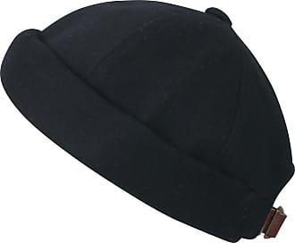 Ililily Solid Color Cotton Short Beanie Strap Back Casual Hat Soft Cap, Black