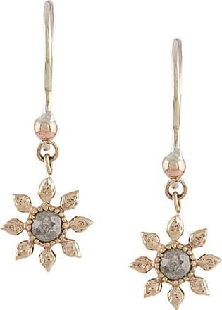 Natalie Perry Jewellery Par de brincos floral de ouro 9k com diamante - Dourado