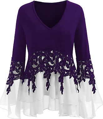 Kobay Women Tops, Ladies Casual Applique Flowy Chiffon V-Neck Long Sleeve T-Shirt Blouse Purple