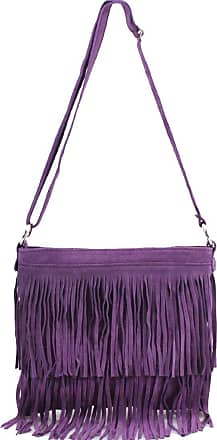 Your Dezire Ladies Suede Leather Tassel Cross Body Messenger Bag Women Shoulder Over Bags Handbags (Purple)