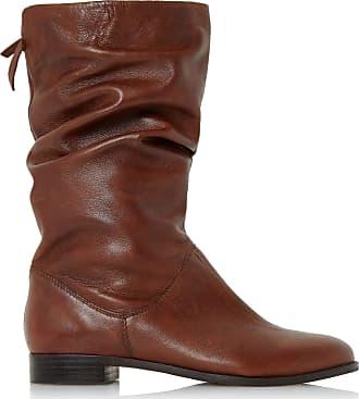 Dune London Dune Ladies Womens Rosalind Slip On Ruched Calf Boots Size UK 3 Tan Block Heel Suede Calf Boots