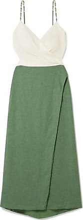 Vix Connie Embellished Wrap-effect Linen-blend Midi Dress - Green