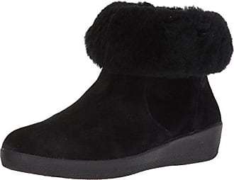 FitFlop Womens SKATEBOOTIE Suede Boots with Shearling Ankle, Black, 6.5 M US