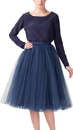 Clearbridal Womens 50s Vintage Tulle Petticoat Tutu Skirt Bridal Petticoat Underskirt for Prom Evening Wedding Party 12021 Navy Blue