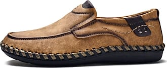 LanFengeu Men Leather Loafers Handmade Casual Breathable Flat Moccasins Outdoor Lightweight Walking Comfortable Slip on Business Shoes Brown