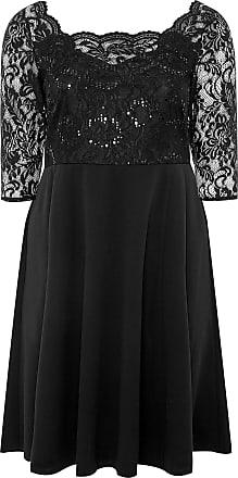 Yours Clothing Clothing Womens Plus Size Sequin Embellished Scuba Dress Size 26-28 Black