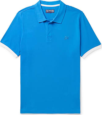 Vilebrequin Palatin Slim-fit Contrast-tipped Cotton-piqué Polo Shirt - Blue