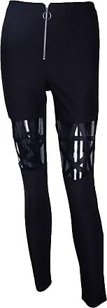 junkai Women Pants Leggings Hollow Out Five-Pointed Star Punk Gothic Casual Pants Tight Pencil Pants Black M