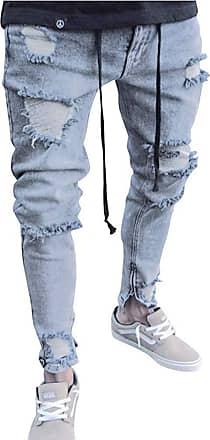 junkai Mens Hiphop Streetwear Jeans Ripped Stretch Zipper Trousers Distressed Holes Denim Grey 2XL