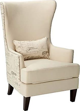 Coaster Fine Furniture 904047 Coaster Traditional Cream Winged Accent Chair with Script Back, 33.5x30.5x48, Brown