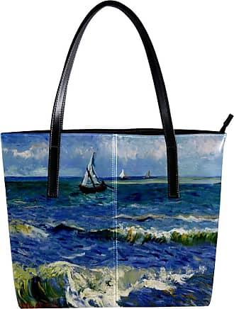 Nananma Womens Bag Shoulder Tote handbag Zipper Purse Top-handle Zip Bags - Post-Impressionist Boat Painting