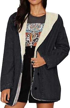 VITryst Womens Lamb Wool Lined Overcoat Thicken Denim Jacket Coat Outerwear,Black,X-Small