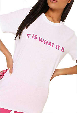 21Fashion Ladies IT is What IT is Slogan Crew Neck T Shirt Womens Short Sleeves Top Shirt (White Medium/Large UK 12-14)