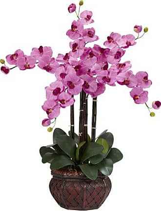 Nearly Natural 1211-MA Phalaenopsis with Decorative Vase Silk Flower Arrangement, Mauve