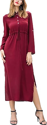 Vonda Women Long Sleeve Side Split V Neck Loose Beach Maxi Dress with Pockets (2XL, Wine Red)