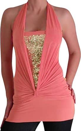 Eyecatch Bella Slinky Stretch Glitter Halter Neck Fashion Top Coral L/XL