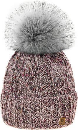 4sold Womens Ladies Chunky Soft Cable Knit Handmade Hat Natural Alpaca Wool Inside Cosy Fleece Liner Faux Fur Pom Pom (Rouse Pink)
