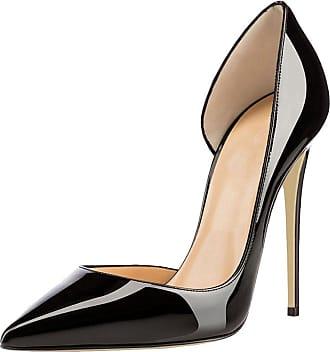 EDEFS Womens Pointed Toe Stiletto Heel Court Shoes Slip On DOrsay High Heel Dress Pumps Black EU41