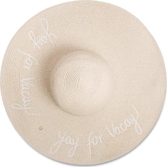 Katie Loxton Large Brim Straw Sun Hat (Yay for Vacay White Writing)