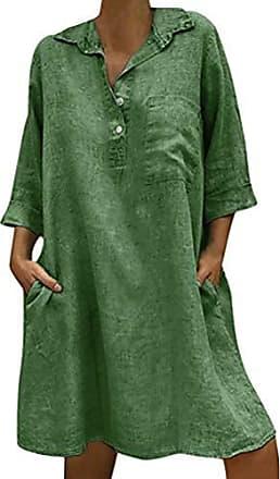 aab0e00d8579b8 ORANDESIGNE Sommerkleid Leinen Kleider Damen V-Ausschnitt Strandkleider  Einfarbig A-Linie Kleid Boho Knielang