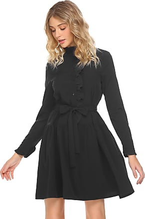 Zeagoo Women Long Sleeve Button Front Casual Loose Shirt Dress with Belt Black