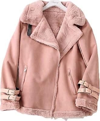VITryst Women Winter Winter Faux Fur Fleece Outwear Lapel Biker Motor Aviator Jacket,Pink,US XXXX-Large