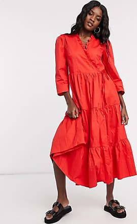Glamorous Midaxi-Kleid aus Baumwolle mit Wickeldesign, Rüschen und gestuftem Rock-Rot