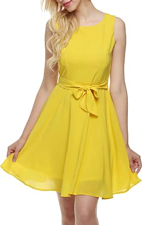 Zeagoo Women Summer Chiffon Sleeveless A-line Pleated Party Cocktail Short Dress With Belt