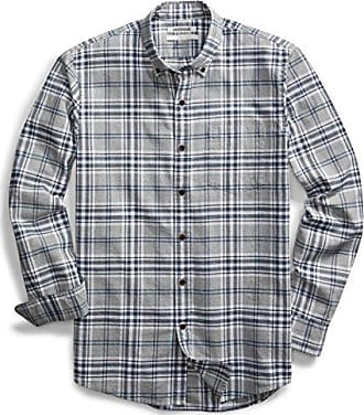 Goodthreads Mens Slim-Fit Long-Sleeve Plaid Oxford Shirt, Medium Grey Heather, XX-Large Tall